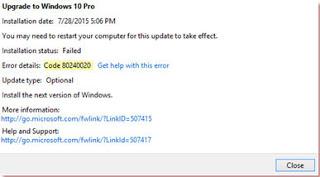 soluciones de error actualizar windows 10