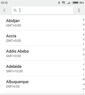 Zonas horarias de Android