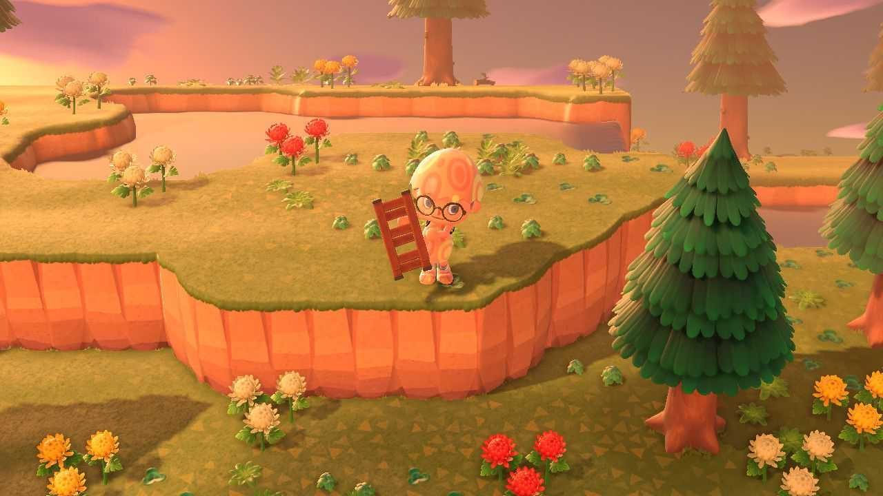 Animal Crossing: nuevos horizontes mientras construyes una escalera para subir a la cima