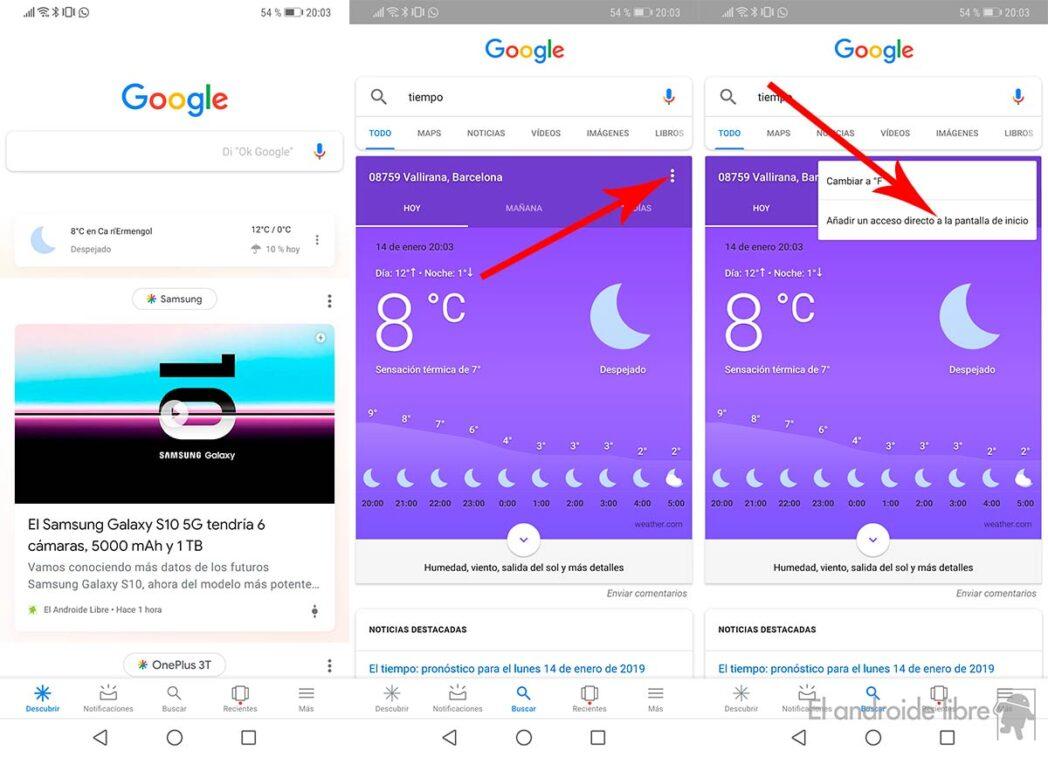 android configura fondos de pantalla de google now que cambian con el tiempo