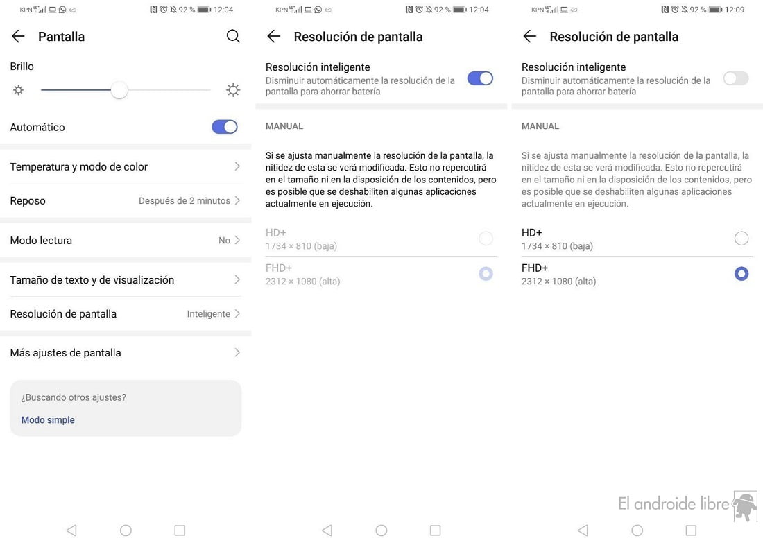como cambiar la resolucion de la pantalla en android