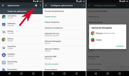 como cambiar las aplicaciones predeterminadas en android