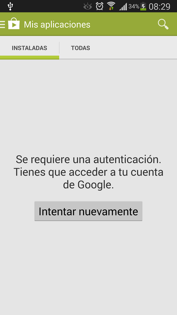 como corregir el error se requiere autenticacion en google play store de android