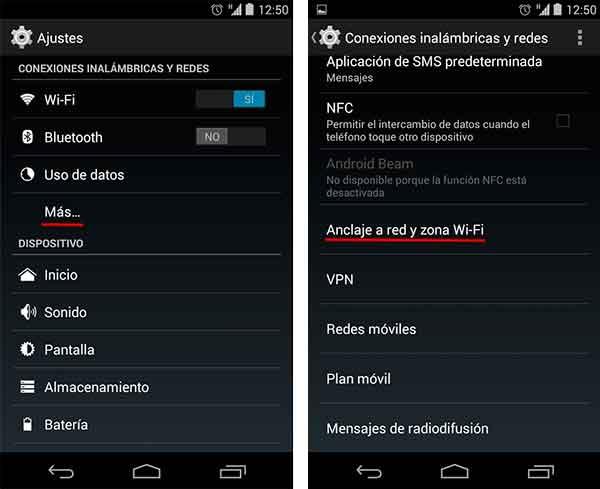 como crear una red de anclaje wi fi con un dispositivo android