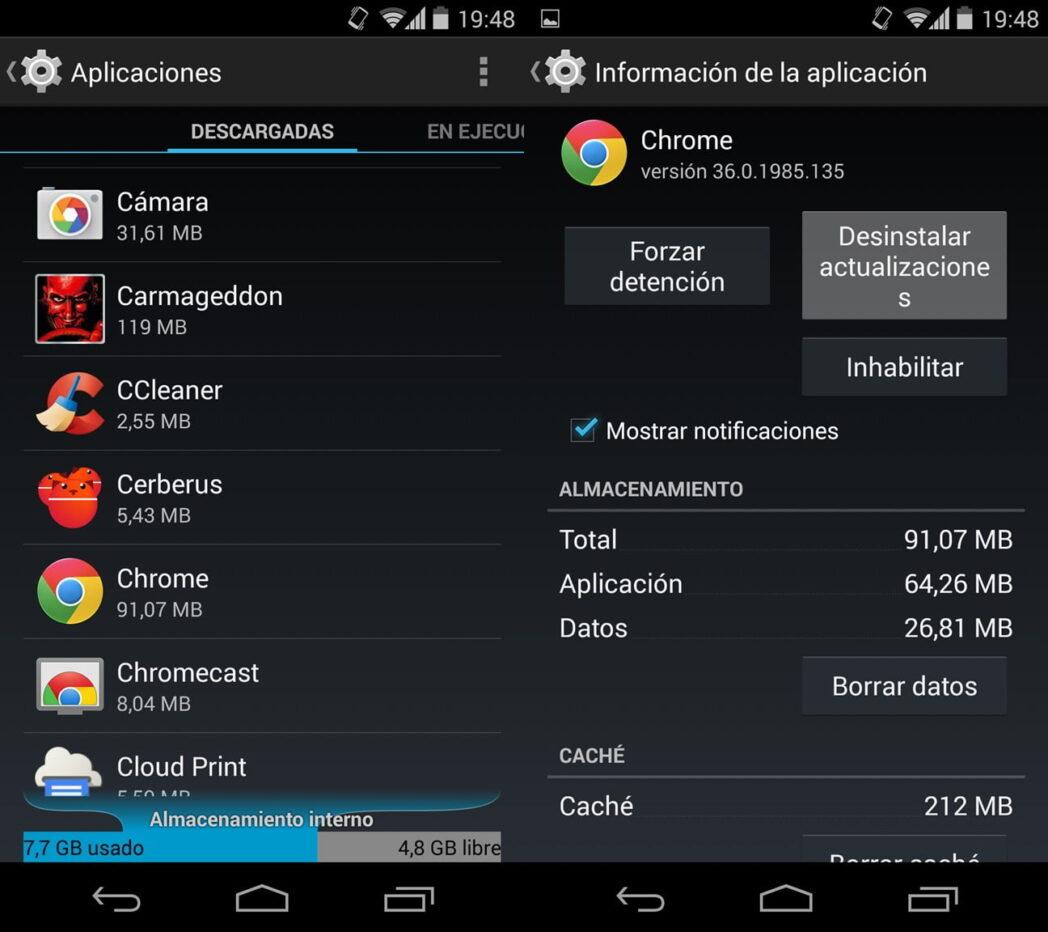 como degradar la aplicacion de android y desinstalar la ultima actualizacion