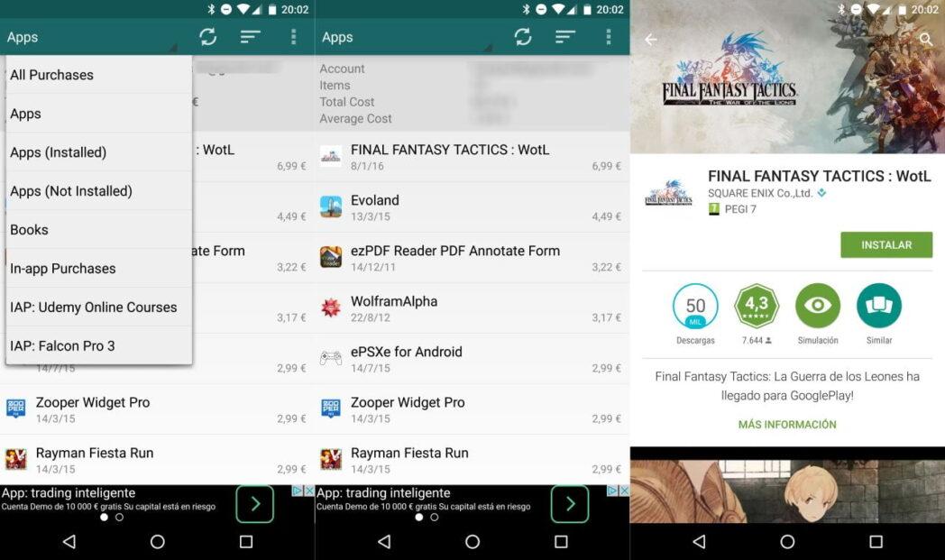 como encontrar una lista de todas las aplicaciones compradas para android en google play store