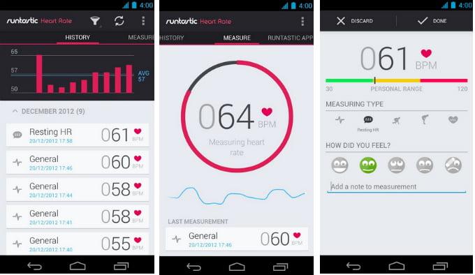 como medir la frecuencia cardiaca en android con runtastic heart rate beat