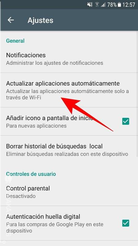 como no actualizar automaticamente las aplicaciones de android