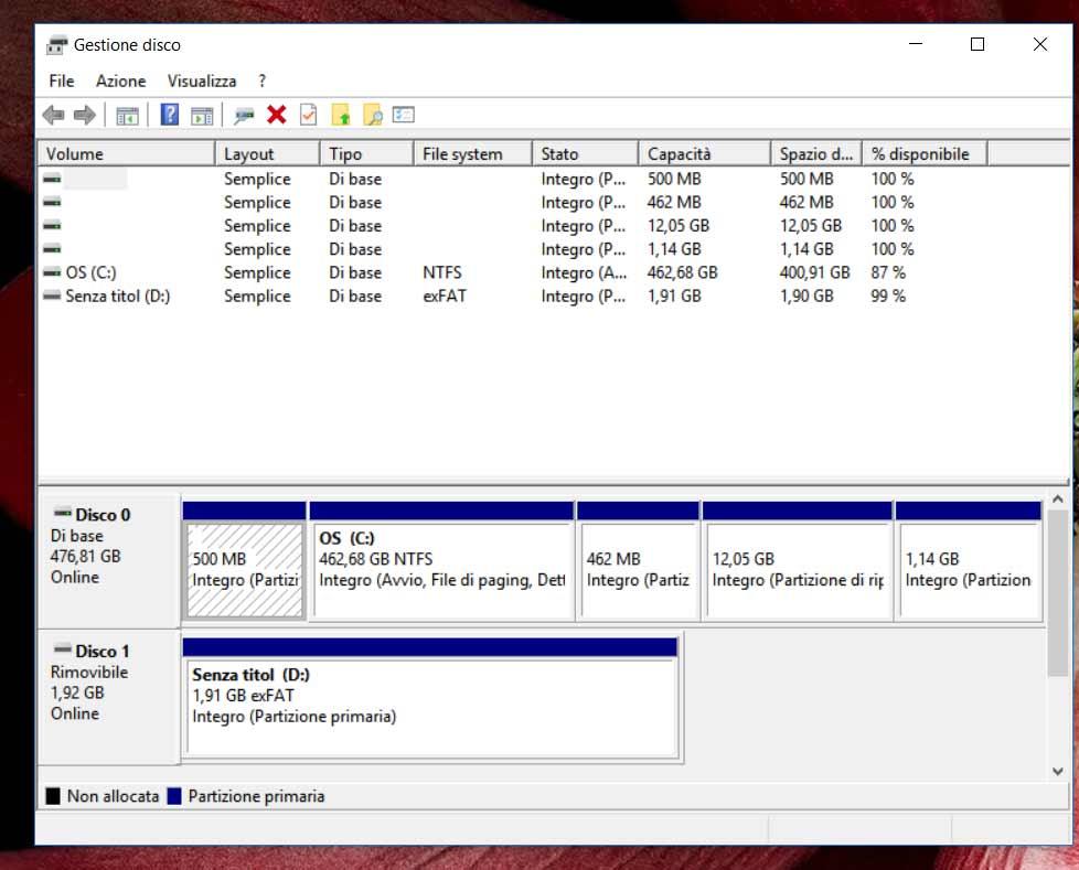 Administración de discos Windows 2