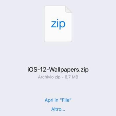 abre el archivo zip en el iphone