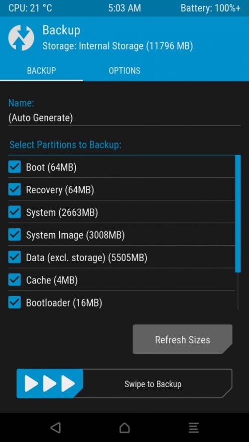 Copia de seguridad de TWRP en PC a través de ADB 1
