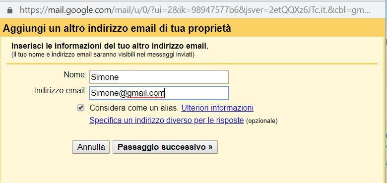 Agregue otra direccion de email
