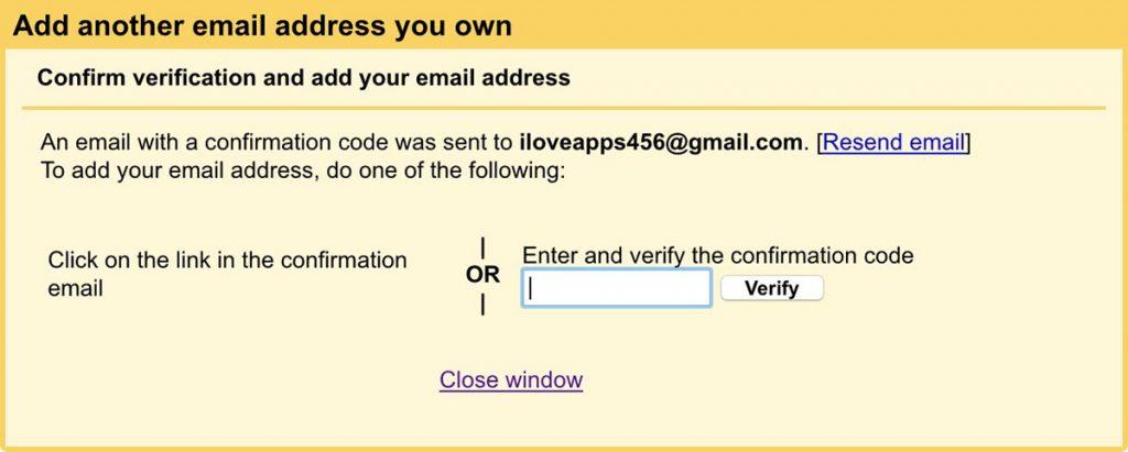 dirección de correo electrónico del código de verificación