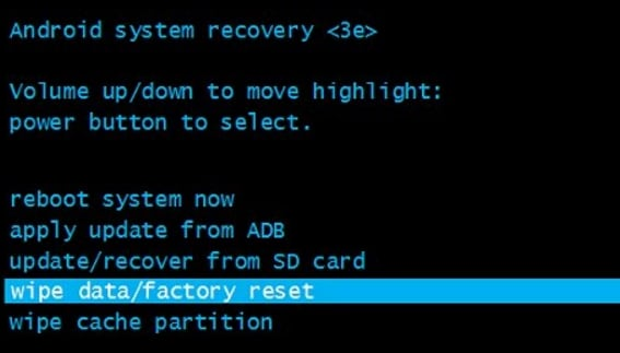 borrar datos / restablecer a fábrica