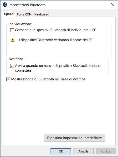 Opciones de bluetooth