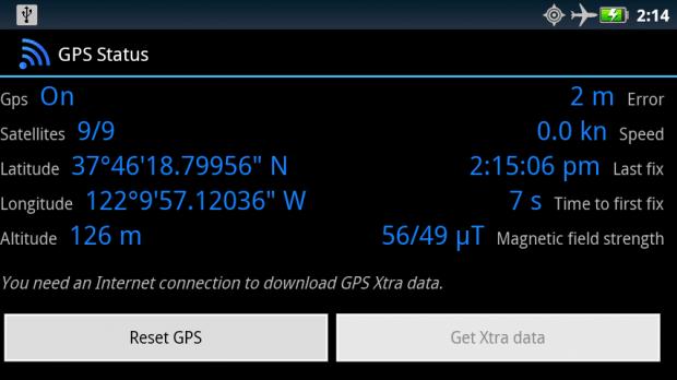 Prueba de estado del GPS y corrección de datos