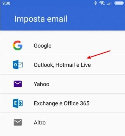 Correo de Hotmail en Android
