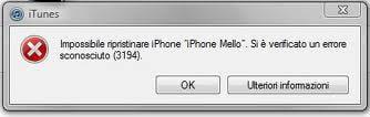 error 3194 en iTunes 1