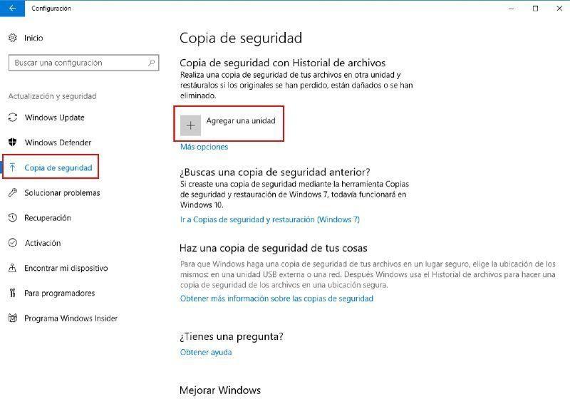 activar las copias de seguridad automaticas de windows 10