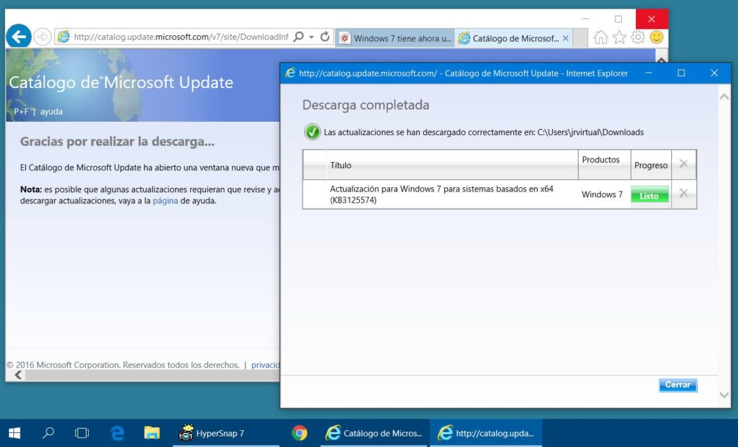 actualice windows 7 con service pack 2