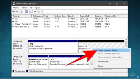 administracion de discos en windows para crear eliminar o cambiar el tamano de las particiones