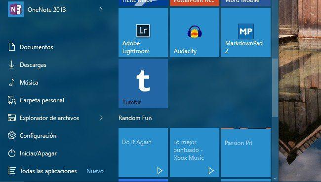 agregue enlaces y accesos directos al menu inicio de windows 10