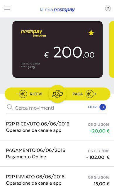 aplicacion postepay para enviar y recibir dinero en p2p android y iphone