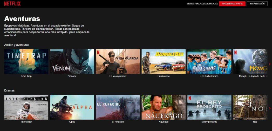 buscar peliculas y programas de tv en netflix categorias ocultas