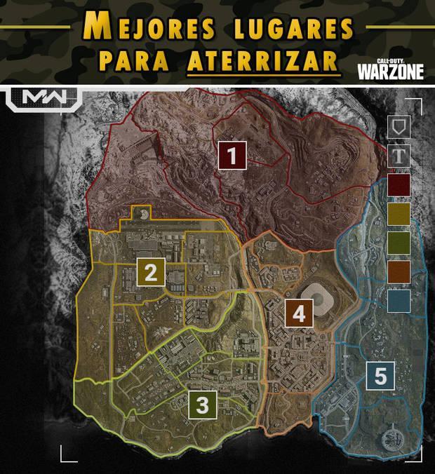call of duty warzone los mejores lugares del mapa para caer