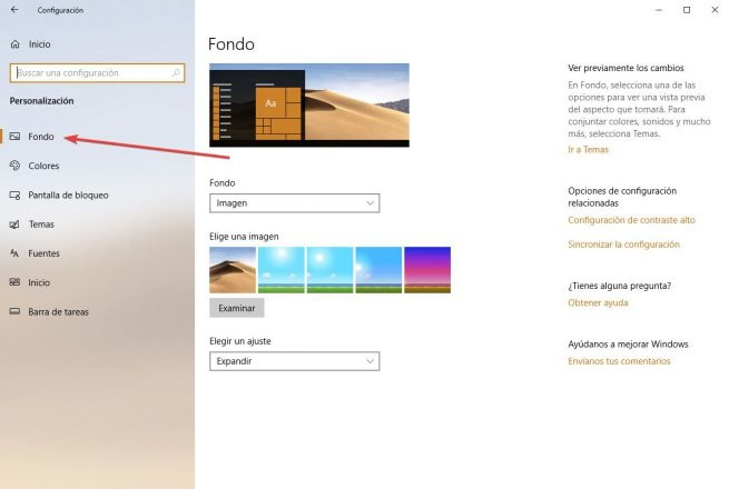 cambiar el fondo de pantalla en windows 10 usando el menu de configuracion anterior