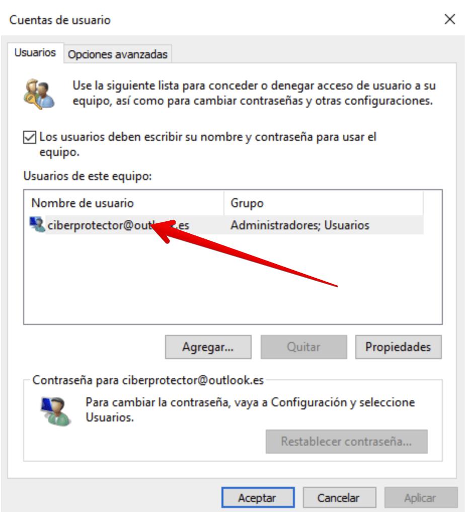 cambiar el nombre de usuario y la imagen en windows 10