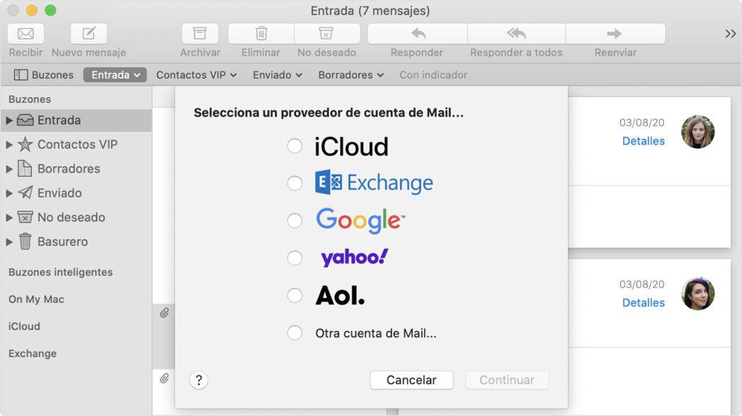como agregar cuentas de correo electronico en mac