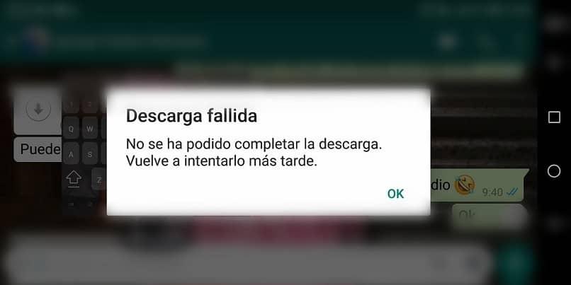 como arreglar una descarga fallida no se puede completar la descarga en whatsapp