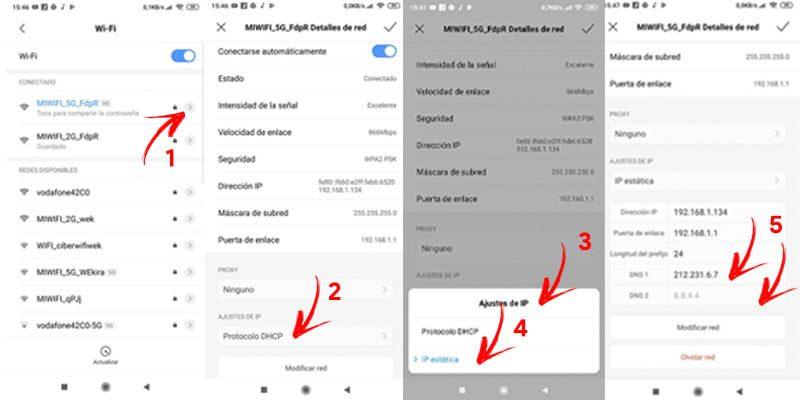 como cambiar dns en android y iphone