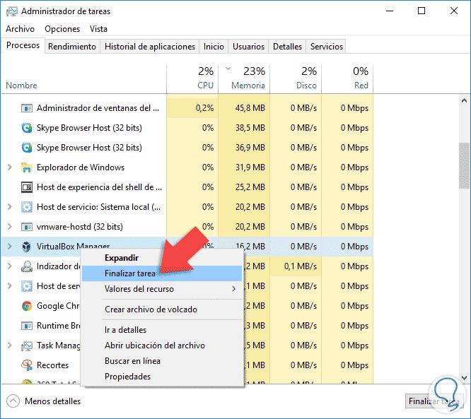 como finalizar un proceso en windows 10