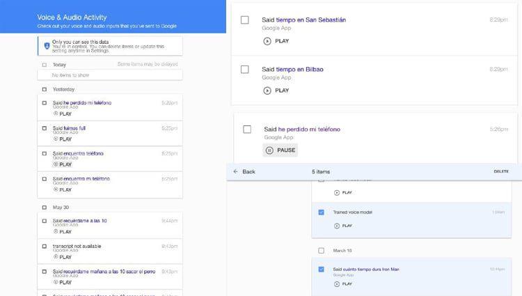 como verificar el historial de comandos de voz grabados en google
