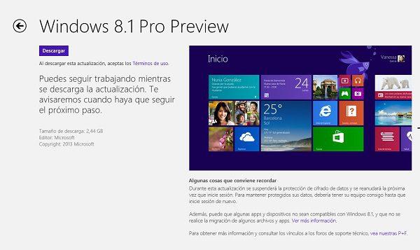 descargar la actualizacion de windows 8 1