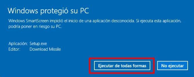 deshabilitar el bloqueo del ejecutable de windows smartscreen