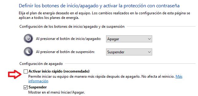 deshabilitar el inicio rapido de windows 10 todos los metodos