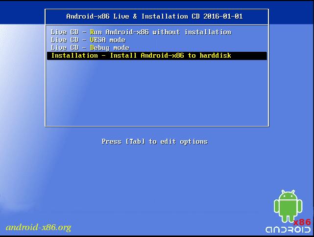 ejecute o instale android x 86 en una computadora portatil