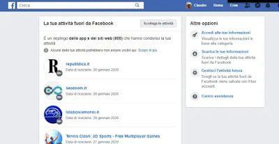 eliminar el historial de actividad de facebook y bloquear la recopilacion de datos de sitios