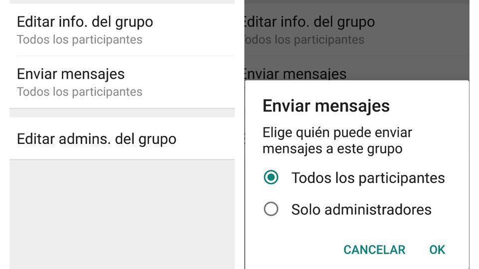 evitar enviar mensajes en grupos de whatsapp