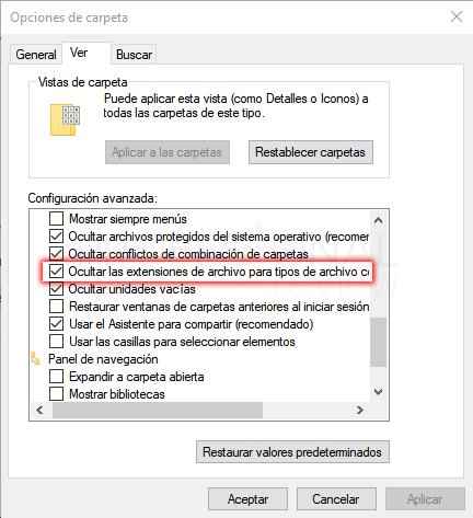 opciones de carpeta de windows 10 para administrar archivos y ventanas