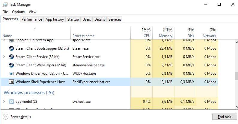 proceso de windows shell experience host si usa demasiada memoria en windows 10