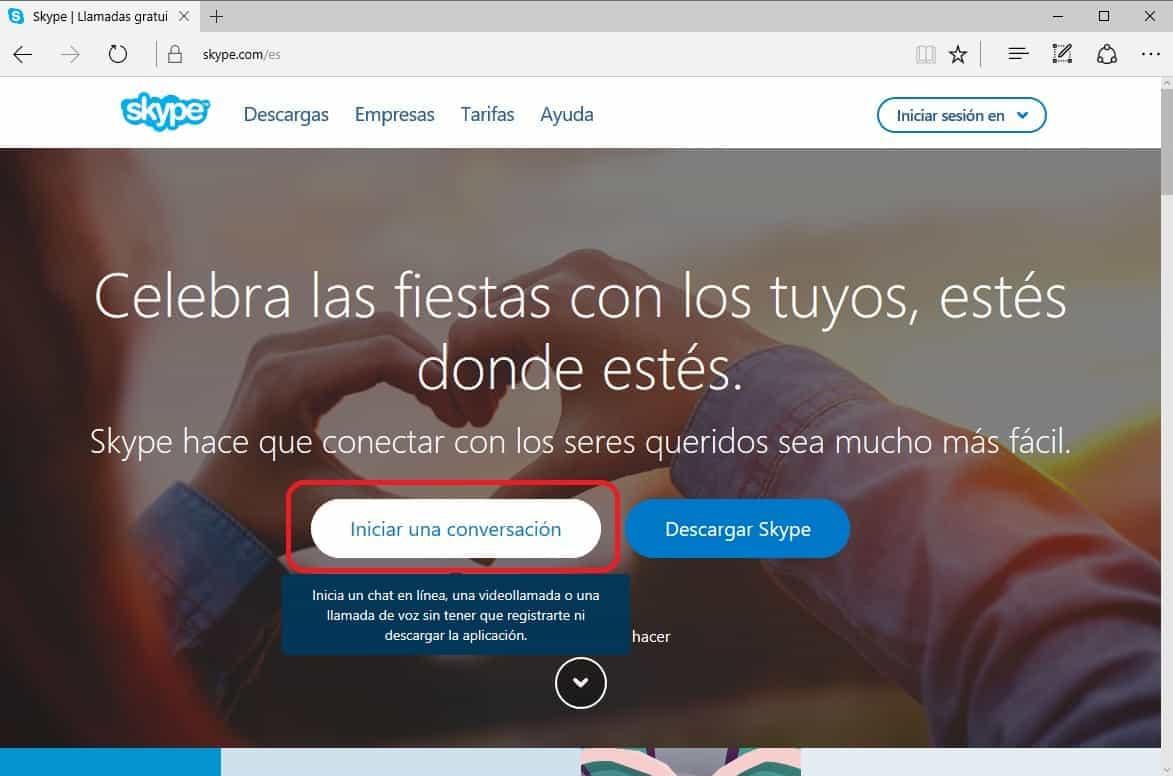 puedes usar skype sin una cuenta o registro
