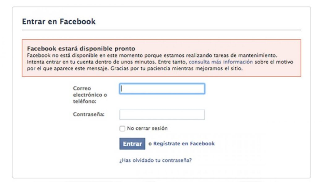 que pasa si facebook no funciona y no esta disponible