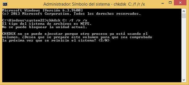 verifique los errores de disco con chkdsk escanear disco en windows 10 7 y 8