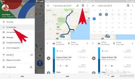 verifique su historial de google maps y apaguelo