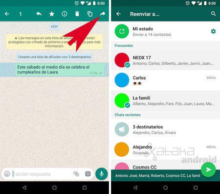 whatsapp envie el mismo mensaje a varias personas